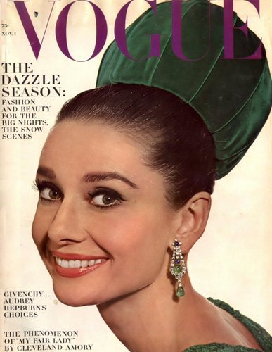 Vogue wallpaper probably containing a portrait titled November: Audrey Hepburn