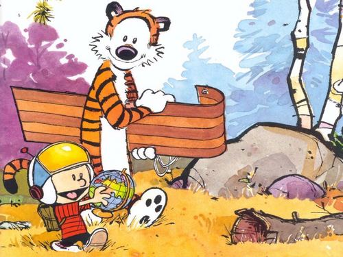 Calvin & Hobbes wallpaper containing anime entitled Calvin and Hobbes