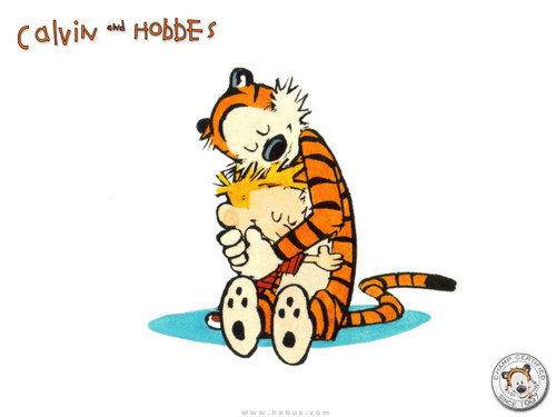 Calvin and Hobbes hugging. - calvin-and-hobbes Wallpaper