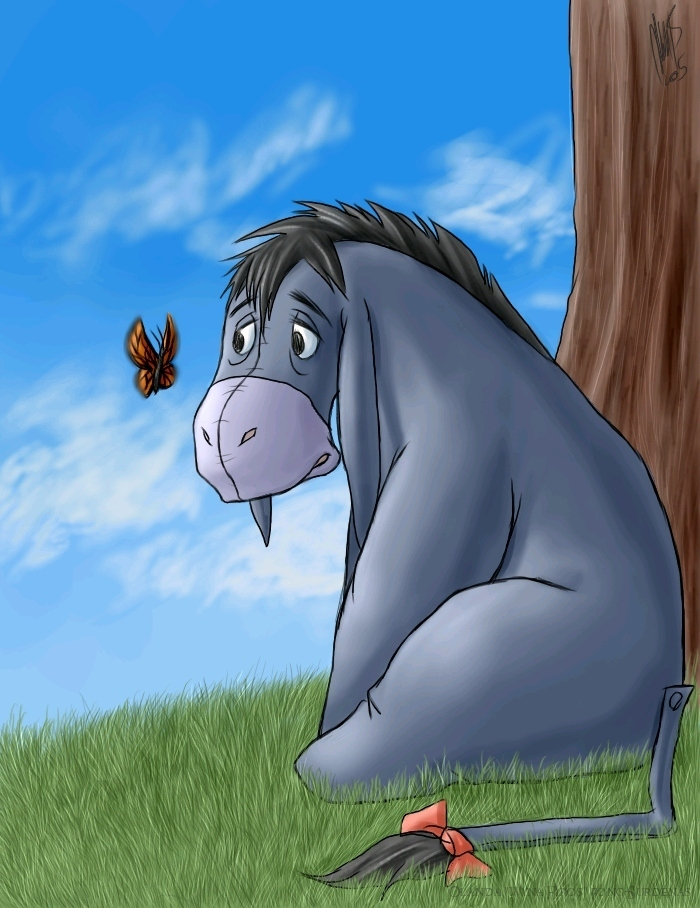 eeyore Eeyore ir eeor is a character in the winniethepooh books by a a milne he is generally characterized as a pessimistic gloomy depressed anhedon.