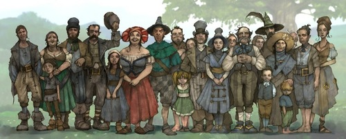 "Fable 2 concept art ""Crowd of Poor People"""
