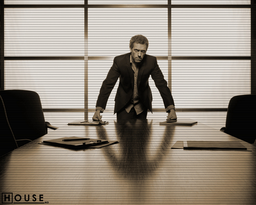 Dr. House Hintergrund probably with a holding cell, a living room, and a business suit titled House