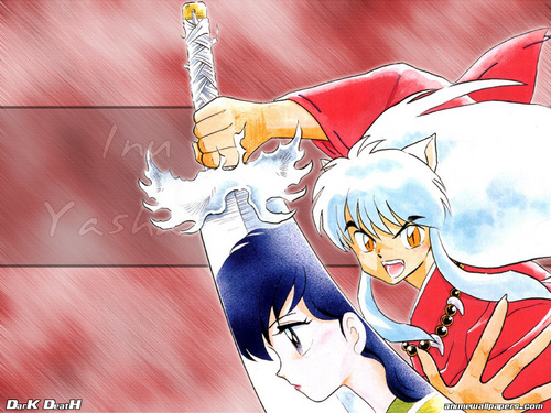 Inuyasha hình nền possibly with anime titled Inuyasha & Kagome