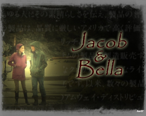 Twilight Series wallpaper with a sign entitled JACOB BELLA