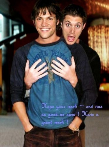 Wincest वॉलपेपर with a leisure wear, a sign, and a sweat suit entitled Jensen & Jared