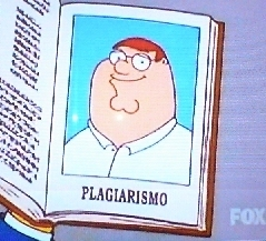 "The Simpsons Vs Family Guy wolpeyper titled Peter ""Plagiarismo"""
