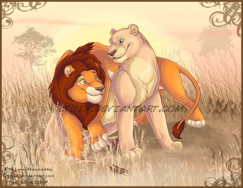 Classic Disney wallpaper probably containing anime titled Simba and Nala