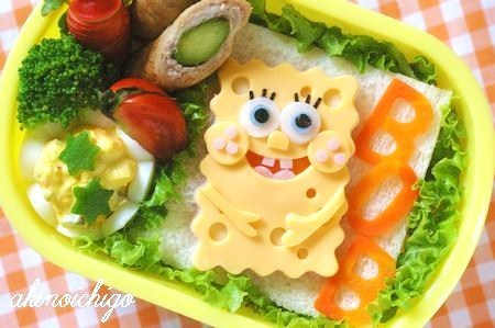 Spongebob Squarepants wallpaper containing a turkey dinner, a lunch, and an antipasto entitled Spongebob Squarepants bento