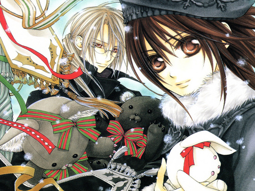 Vampire Knight kertas dinding entitled Yuuki & menyeberang, cross