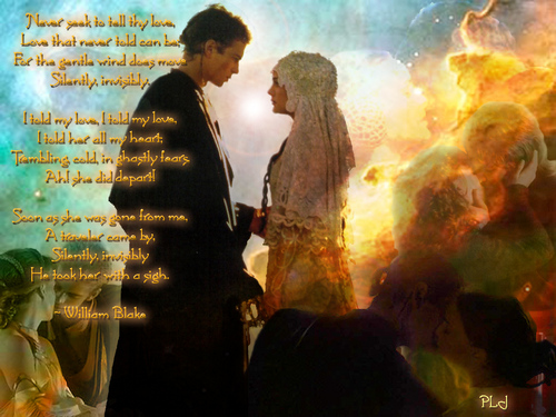 Anakin and Padme wallpaper probably containing a fire titled anakin