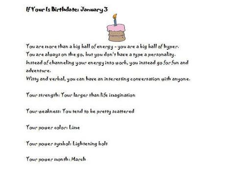 Birthday personality January 3