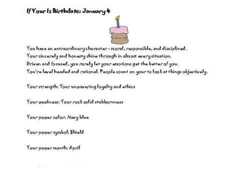 Birthday personality January 4