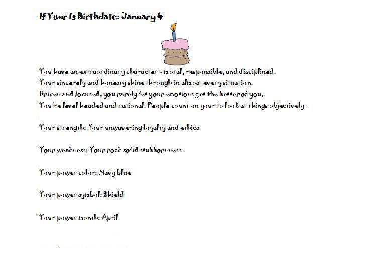 Birthday personality January 4