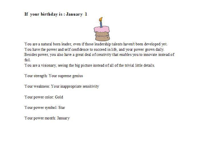 Birthday personality January 1