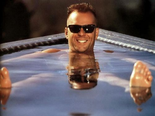 Bruce Willis wallpaper with sunglasses, a water, and a bather called Bruce in the pool!