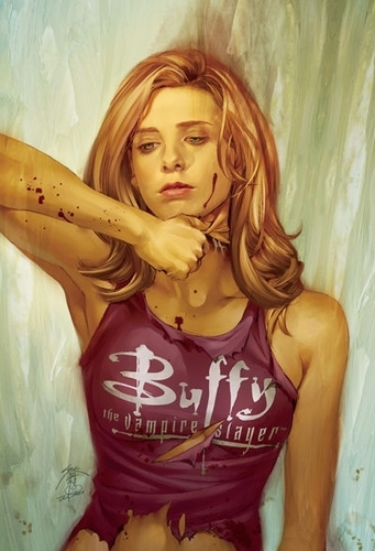 Buffyverse Comics দেওয়ালপত্র probably with a playsuit, a top, and attractiveness called Buffy Comic Cover