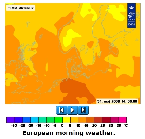 Temperature in europe in may