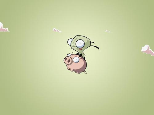 গির on his pig