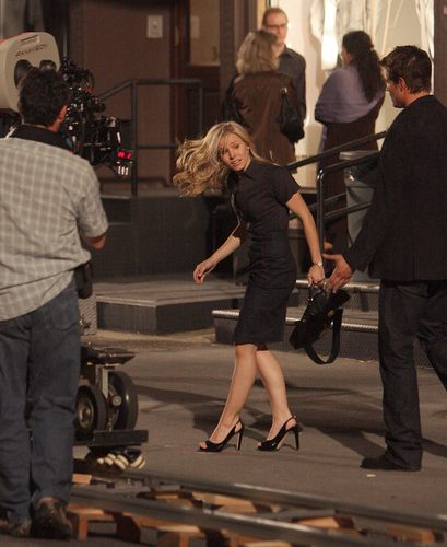 Kristen Bell wallpaper containing a street entitled Kristen shooting for When In Rome!