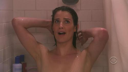 Cobie Smulders Hintergrund with a bathroom, a shower, and a bathtub called Robin