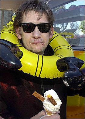 Shane enjoys an ice cream