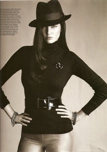 Vogue wallpaper with a snap brim hat, a fedora, and a campaign hat called Vogue UK: January 2008 - Eva Green