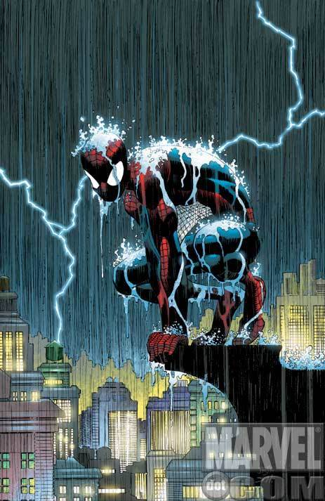 spider man under rain ...