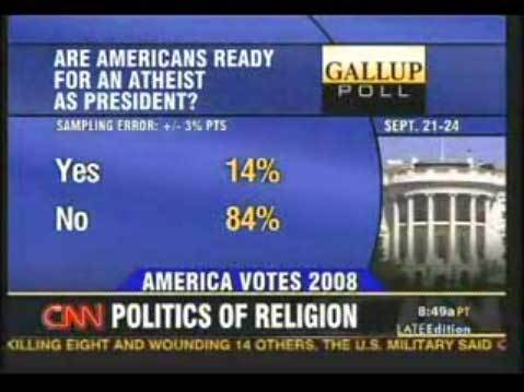 """Atheism wallpaper titled """"Are Americans Ready for an Atheist as President?"""""""