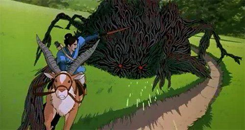Princess Mononoke wallpaper entitled Ashitaka trying to fend off a demon