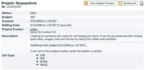 fanpop Clone Project Request and Bids