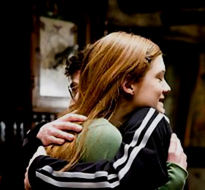 Harry Potter Actors wallpaper probably containing a portrait titled Harry and Ginny Hugging: Half-Blood Prince
