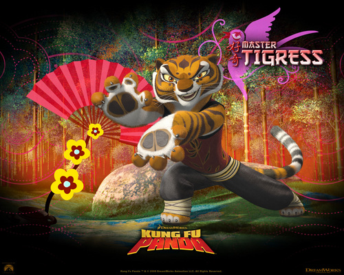 Kung Fu Panda achtergrond possibly with anime called tijgerin, die tigerin