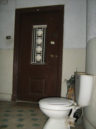 Egypt achtergrond possibly with a bathroom and a washok, wasruimte entitled Only In Egypt
