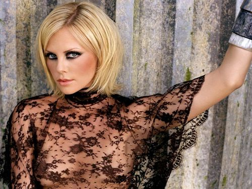 Charlize Theron wallpaper with a playsuit and a chemise entitled Charlize