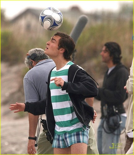 Ed Westwick wallpaper possibly containing a soccer ball called Ed on set of GG