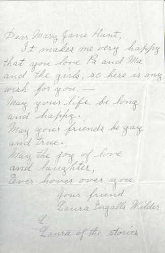 Handwritten Letter by Laura  - laura-ingalls-wilder Photo
