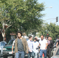 Kevin Connolly and Jeremy Piven follow Adrian Grenier down the streets of Hollywood   June 2008 - entourage photo