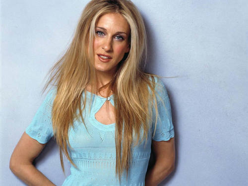 Sarah Jessica Parker achtergrond possibly with a top, boven and a portrait entitled SJP