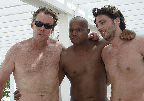 Zach Braff 바탕화면 with a hunk, a six pack, and swimming trunks entitled 스크럽스 cast in the Bahama's