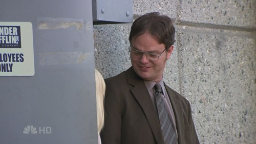 Angela asks Dwight to feed her cat in Fun Run