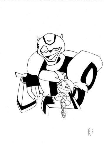 My drawing of Sari and Bumblebee