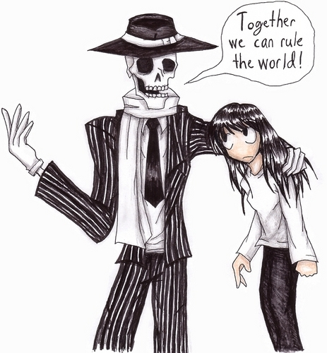 Skulduggery Pleasant Обои with Аниме titled Skulduggery and Stephanie