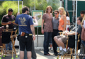 Kevin Connolly poses with fans outside Urth Caffe on July 10, 2008 - entourage photo