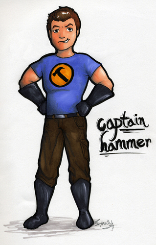 Dr. Horrible's Sing-A-Long Blog wallpaper entitled Captain Hammer Drawing