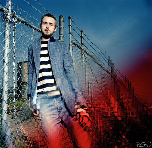 Ryan gosling karatasi la kupamba ukuta containing a chainlink fence called Flaunt Photoshoot