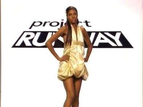 Project Runway wallpaper possibly containing a cocktail dress, attractiveness, and a chemise called Keith's Outfit - Green Model Challenge