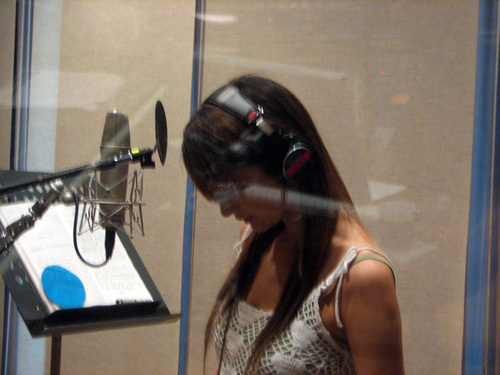 Leah in the recording studio