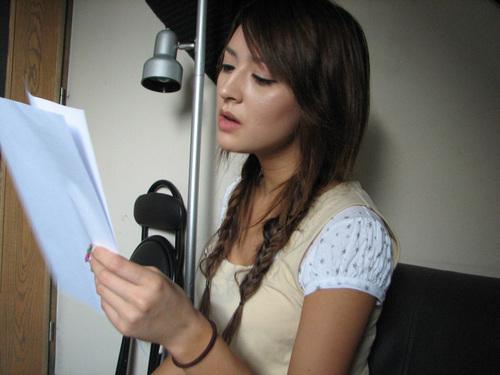 Leah in the recording studio