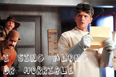 Dr. Horrible's Sing-A-Long Blog wallpaper possibly containing a portrait entitled Dr. Horrible & Bad Horse Chorus Banner