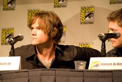 Jared Padalecki karatasi la kupamba ukuta probably containing a business suit called Jared at the SPN Comic-Con 2008